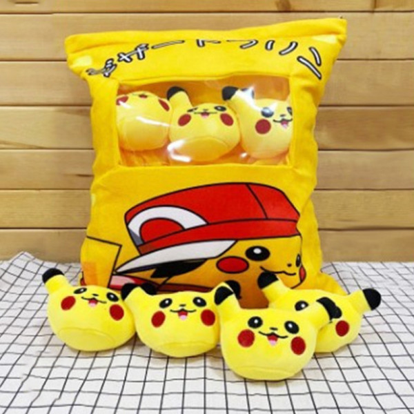 Cute Bag of Yellow Pikachu Plush Soft Toy Throw Pillow Pudding Pillow Creative Gifts