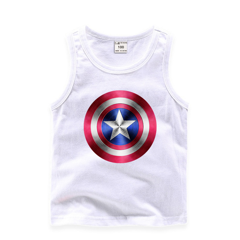 Toddler Boy Print Captain America Sleeveless Cotton Vest for Summer