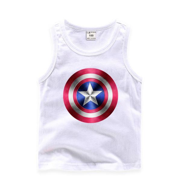 Toddler Boy Print Captain America Sleeveless Cotton Vest for Summer