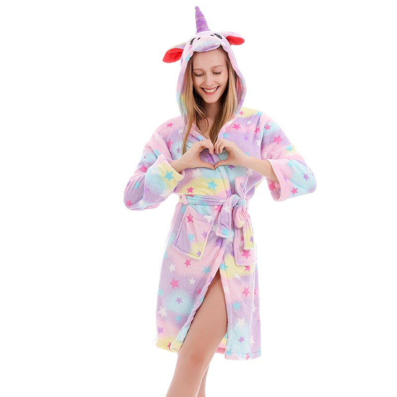 Mom And Kids Parent-child Colorful Stars Unicon Soft Bathrobe Sleepwear Comfortable Loungewear