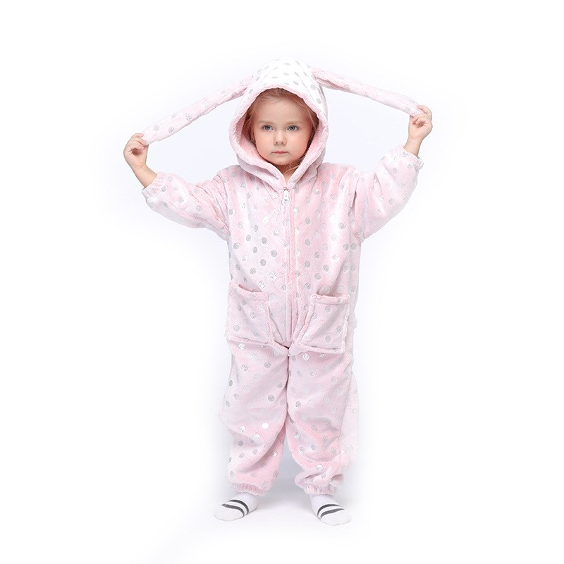 Kids Pink Bronzing Dots Rabbit Onesie Kigurumi Pajamas Animal Cosplay Costumes for Unisex Children