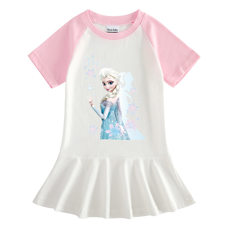 Toddler Girls Prints Frozen Flowers Alsa Princess A-line Pleated Short Sleeve Dresses
