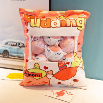 Cute Bag of Orange Unicorns Plush Soft Toy Throw Pillow Pudding Pillow Creative Gifts