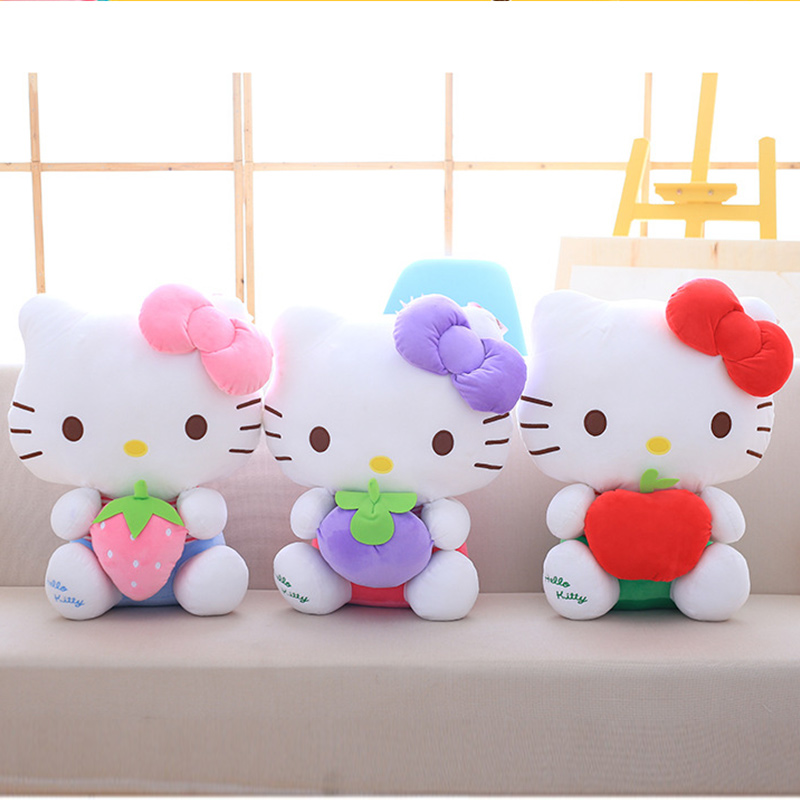 Cute Hellokitty Fruits Strawberry Apple Grape Soft Stuffed Plush Animal Doll for Kids Gift