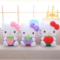 Cute Hellokitty Fruits Strawberry Apple Grape Soft Stuffed Plush Animal Doll for Kids Gift