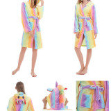 Mom And Kids Parent-child Colorful Unicon Soft Bathrobe Sleepwear Comfortable Loungewear