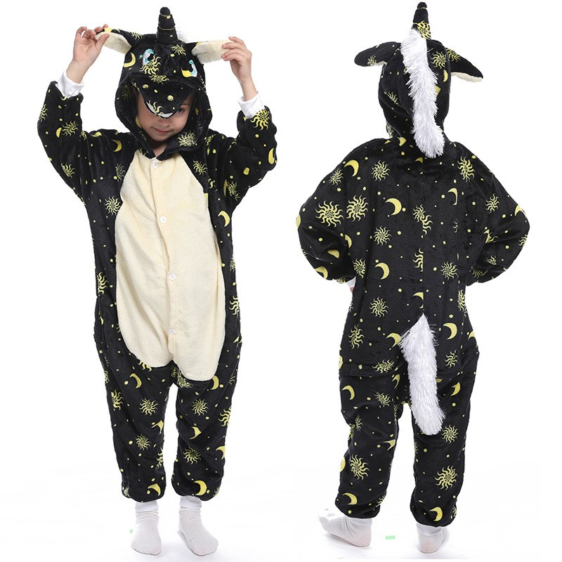 Kids Sun Moon Stars Black Union Onesie Kigurumi Pajamas Animal Cosplay Costumes for Unisex Children