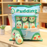 Cute Bag of Green Avocados Plush Soft Toy Throw Pillow Pudding Pillow Creative Gifts