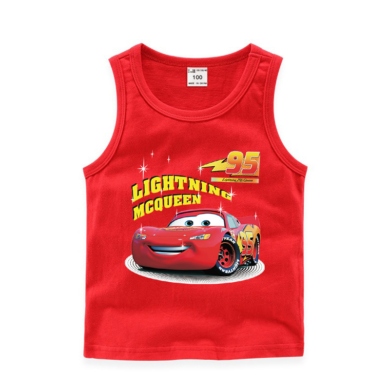 Toddler Boy Print Lightning Mcqueen Racing Cars Sleeveless Cotton Vest for Summber