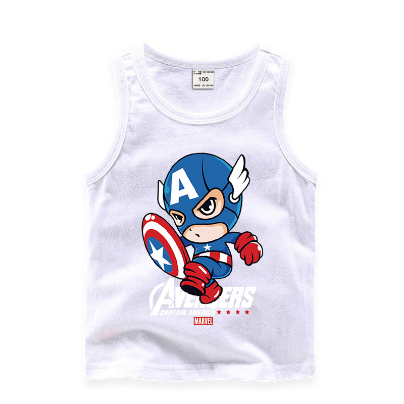 Toddler Boy Print Cartoon Cute Captain America Sleeveless Cotton Vest for Summer