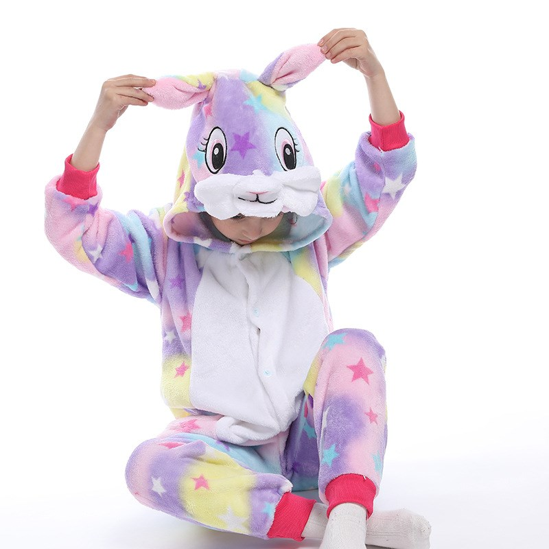 Kids Colorful Stars Rabbit Union Onesie Kigurumi Pajamas Animal Cosplay Costumes for Unisex Children