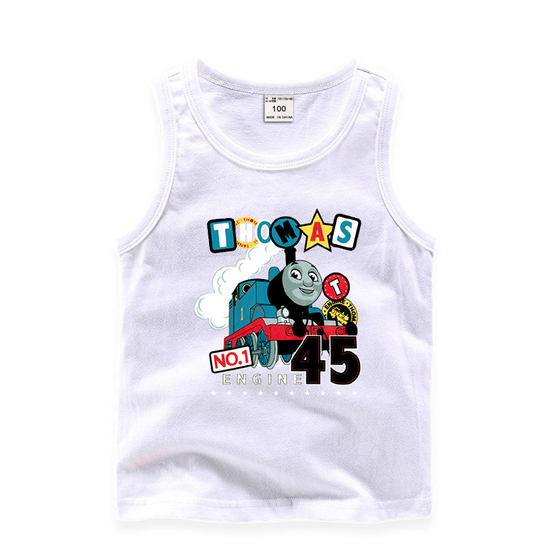Toddler Boy Prints Thomas Train Sleeveless Cotton Vest for Summer