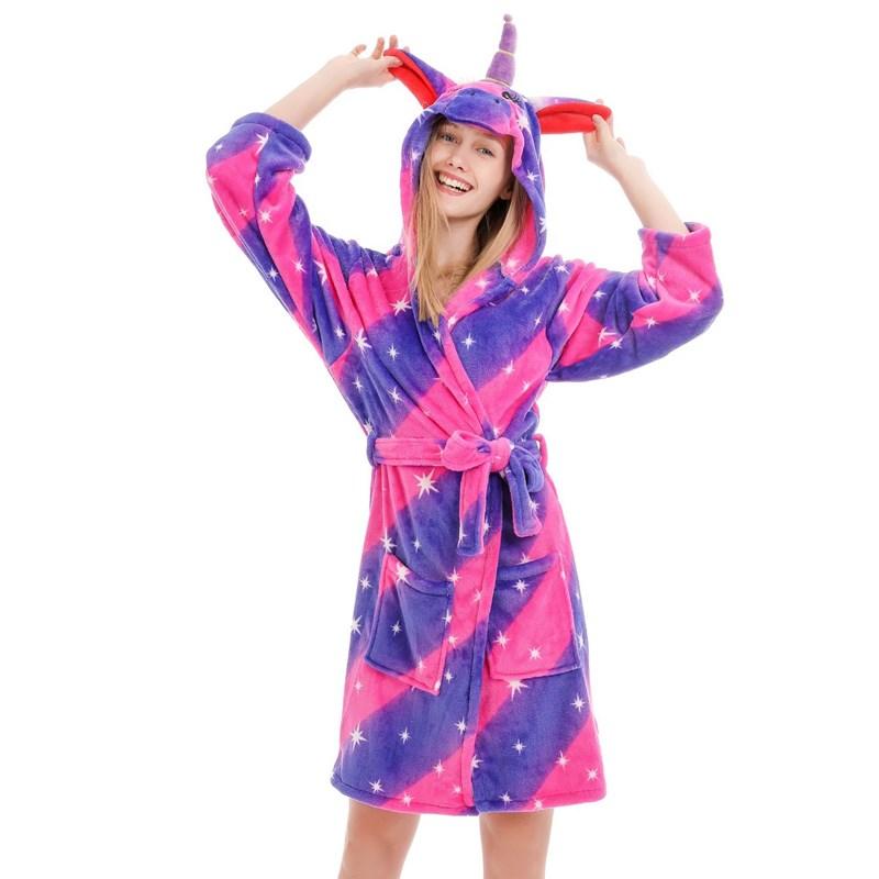 Mom And Kids Parent-child Purple Stars Unicon Soft Bathrobe Sleepwear Comfortable Loungewear