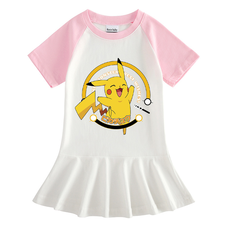 Toddler Girls Prints Pokemon Pikachu A-line Pleated Round Collar Short Sleeve Dresses