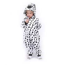 Kids Black and White Spot Dog Onesie Kigurumi Pajamas Animal Cosplay Costumes for Unisex Children