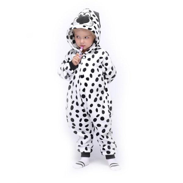 Kids Black and White Spot Dog Onesie Kigurumi Pajamas Animal Cosplay Costumes for Unisex Children