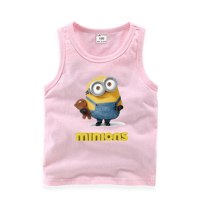 Toddler Boy Print Minions Sleeveless Cotton Vest for Summer