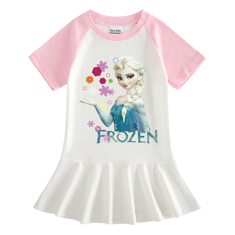 Toddler Girls Prints Frozen Snowflake Alsa Princess A-line Pleated Short Sleeve Dresses