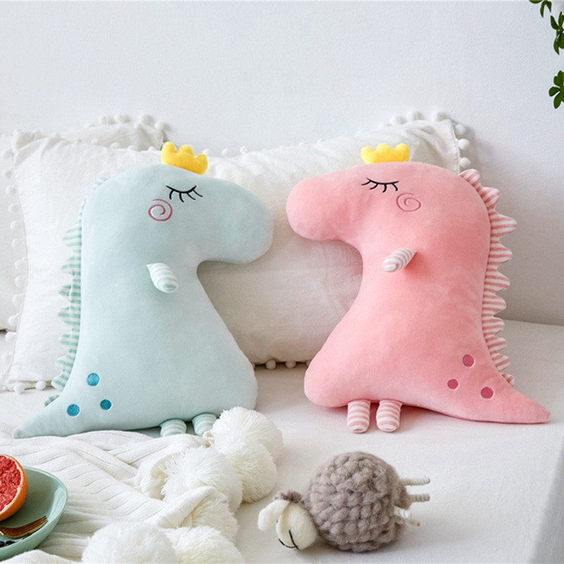 Cute Crown Dinosaur Soft Stuffed Plush Animal Doll for Kids Gift