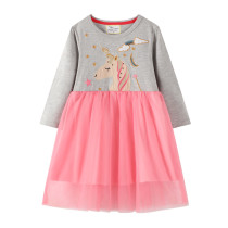 Toddler Girls Embroidery Unicorn Stars Moom Long Sleeve Tutu Dresses