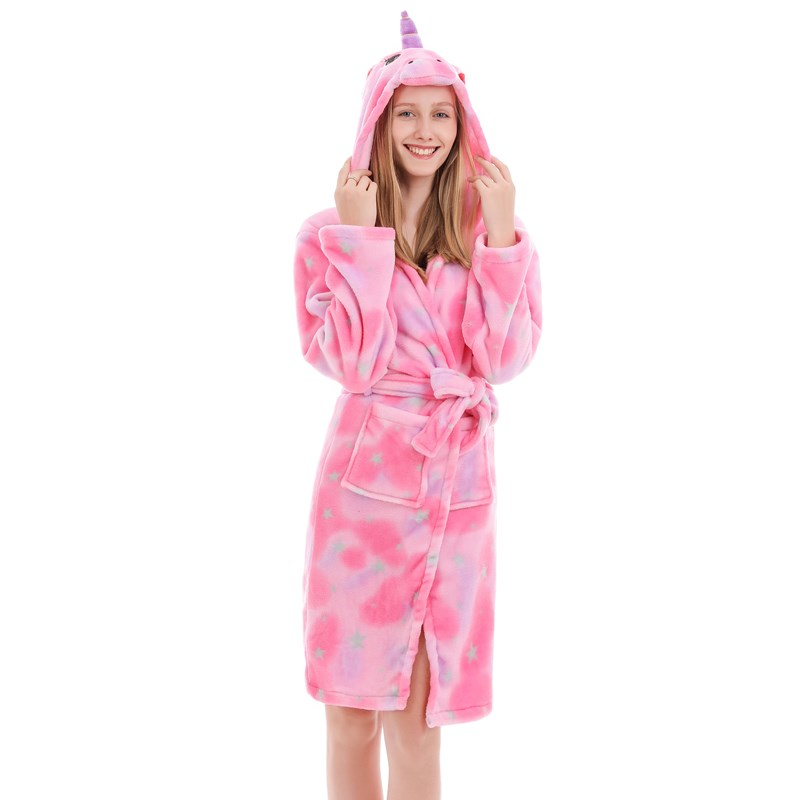 Mom And Kids Parent-child Eyes Closed Unicon Soft Bathrobe Sleepwear Comfortable Loungewear