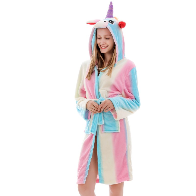 Mom And Kids Parent-child Colorful Rainbow Unicon Soft Bathrobe Sleepwear Comfortable Loungewear