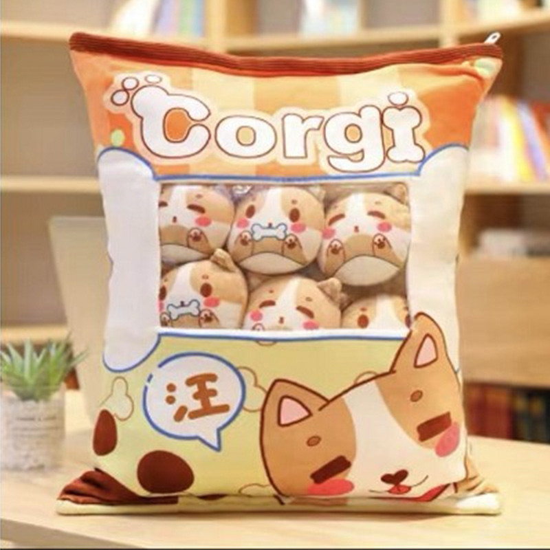 Cute Bag of Light Brown Corgi Plush Soft Toy Throw Pillow Pudding Pillow Creative Gifts
