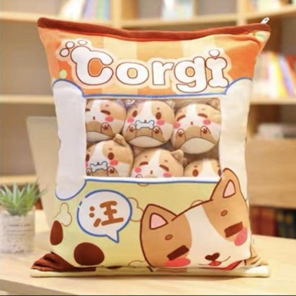 Cute Bag of Light Brown Corgi Plush Soft Toy Throw Pillow Pudding Pillow Creative Gifts