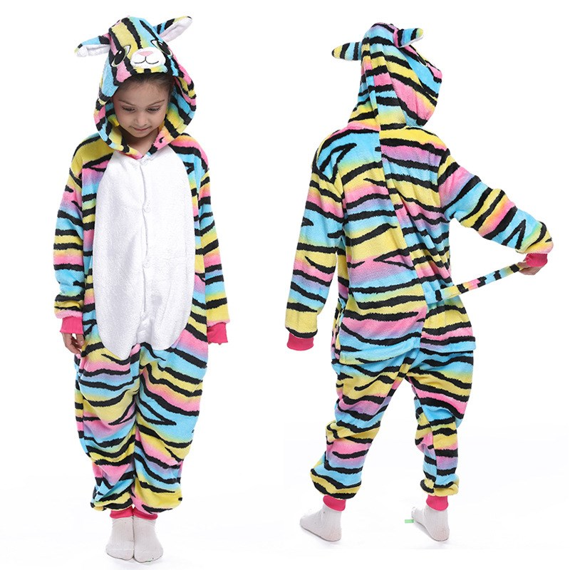 Kids Colorful Cat Onesie Kigurumi Pajamas Animal Cosplay Costumes for Unisex Children