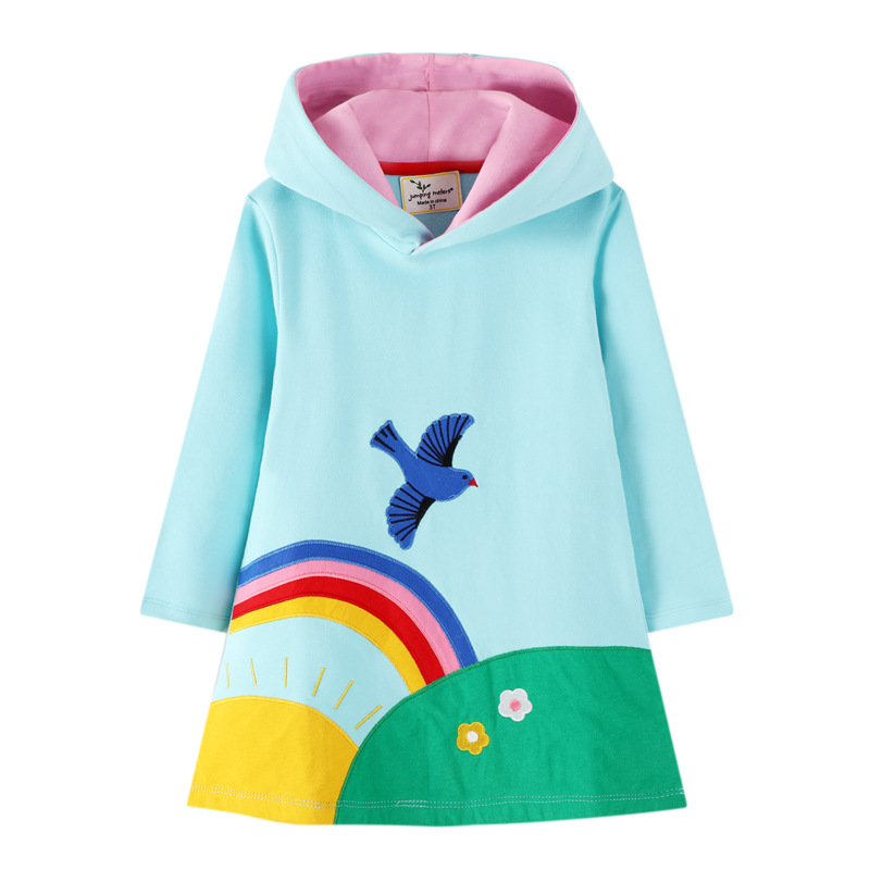 Toddler Girls Prints Rainbow Sun Long Sleeve Hooded Dresses
