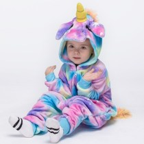 Kids Blue Stars Unicon Kigurumi Pajamas Animal Cosplay Costumes for Unisex Children