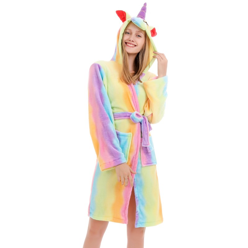 Mom And Kids Parent-child Colorful Unicon Soft Bathrobe Sleepwear Comfortable Loungewear