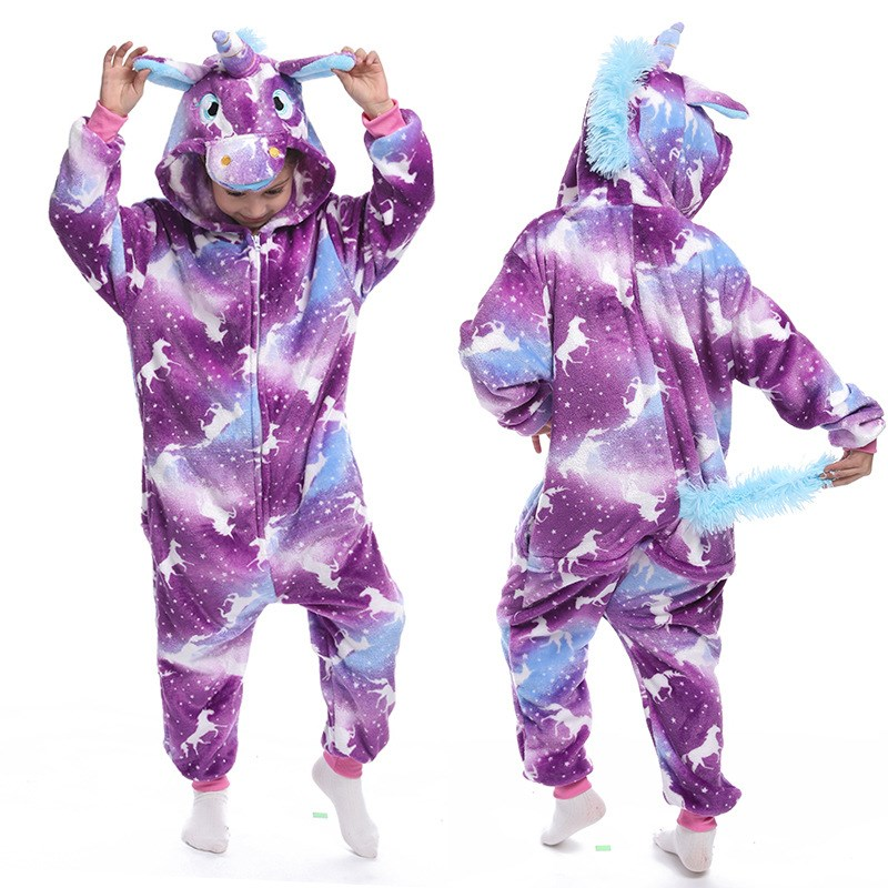 Kids Purple Night Horse Unicon Onesie Kigurumi Pajamas Animal Cosplay Costumes for Unisex Children