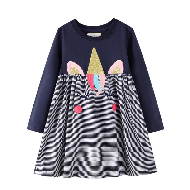 Toddler Girls Eyes Unicorn Stripes Long Sleeve Cotton Dresses