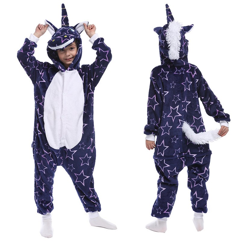 Kids Blue Bright Stars Unicon Onesie Kigurumi Pajamas Animal Cosplay Costumes for Unisex Children