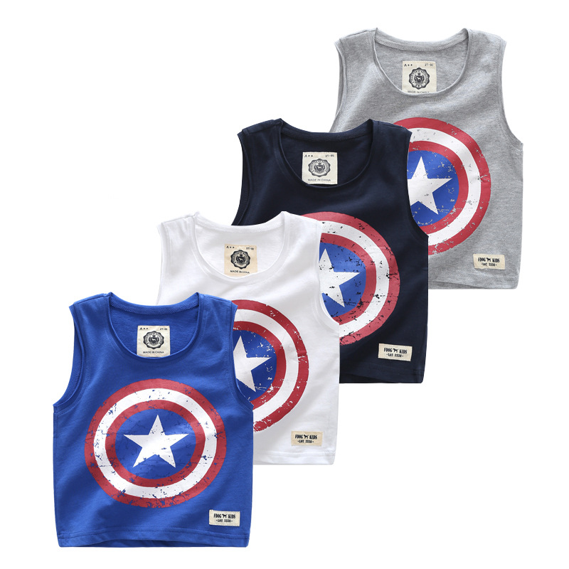 Toddler Boy Print Avengers Captain America Sleeveless Cotton Vest for Summer