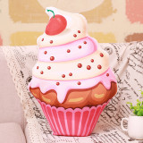Simulation 3D Cake Cup Cherry Ice Cream  Soft Stuffed Plush Animal Doll for Kids Gift
