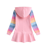 Toddler Girls Prints Frozen Alsa Color Matching Rainbow Long Sleeve Hooded Dresses