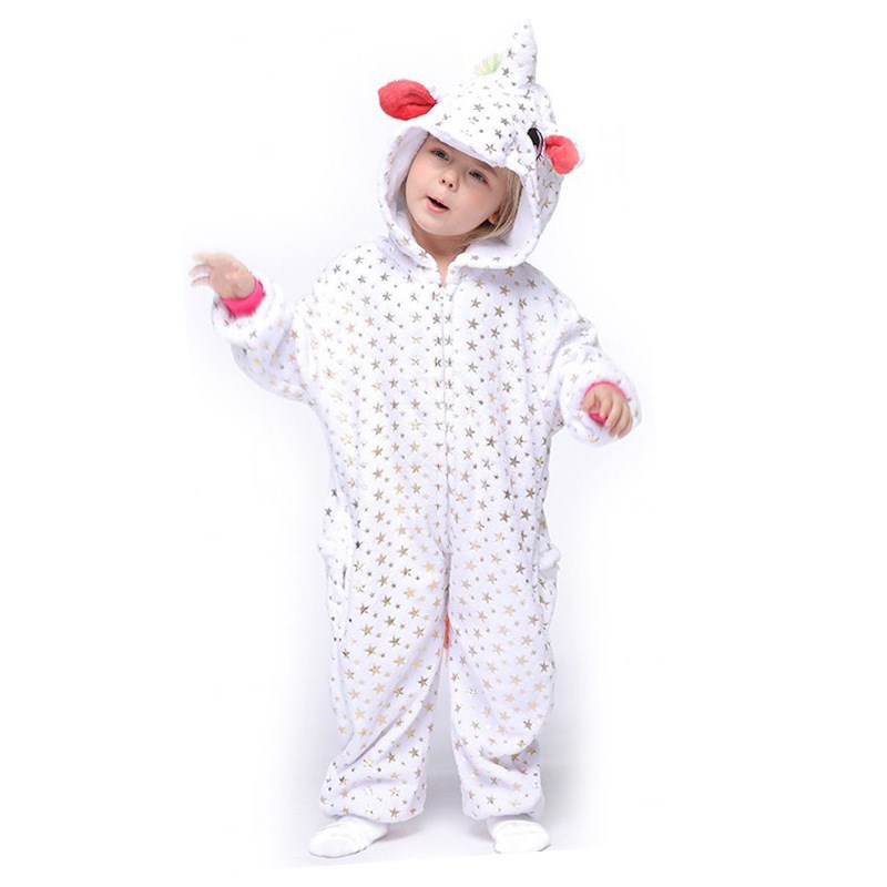 Kids Bronzing Stars Unicon Onesie Kigurumi Pajamas Animal Cosplay Costumes for Unisex Children