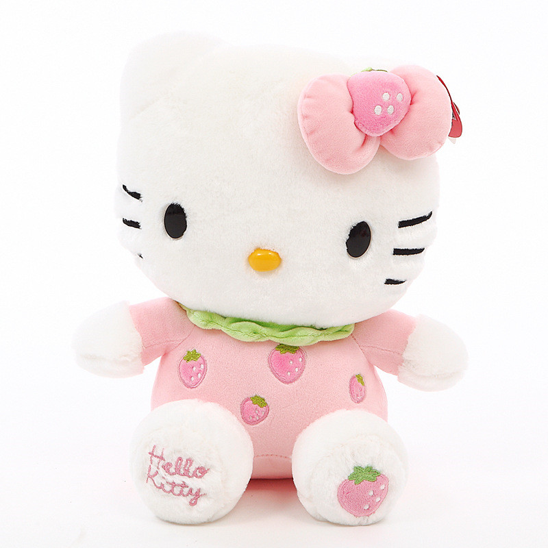 Cute Hello kitty Fruits Strawberry Orange Apple Soft Stuffed Plush Animal Doll for Kids Gift