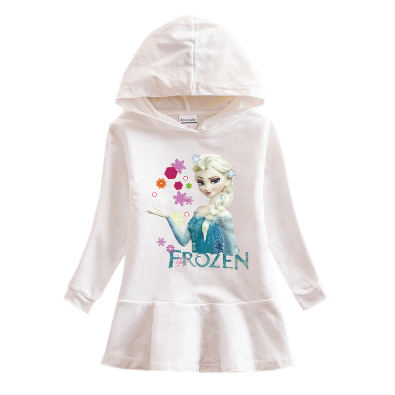 Toddler Girls Prints Frozen Alsa Long Sleeve Hooded Dresses