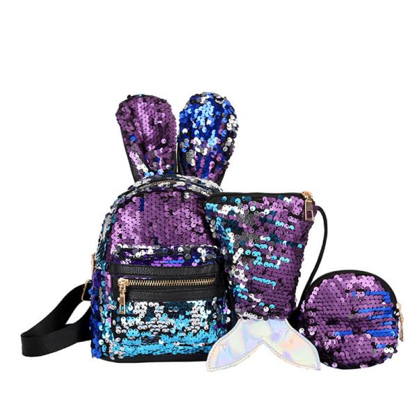 Cute Sequins Rabbit Ears Fashion Backpack Bags Mermaid Bag 3PCS Sets