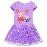 Toddler Girls Prints Peppa Pig Balloon A-line Lace Tutu Short Sleeve Dresses
