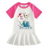 Toddler Girls Prints Frozen Snowflake Alsa Princess A-line Pleated Short Sleeve Dresses