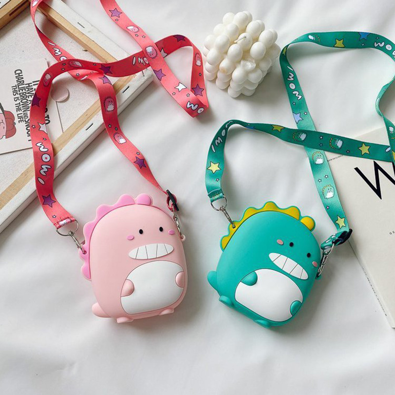 Cute Cartoon Dinosaur Silicone Mini Single Shoulder Round Bag