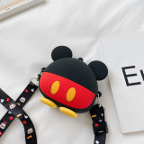 Cute Cartoon Ears Bowknot Mickey Mouse Silicone Mini Single Shoulder Round Bag