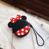 Cute Cartoon Bowknot Mickey Mouse Silicone Mini Single Shoulder Round Bag