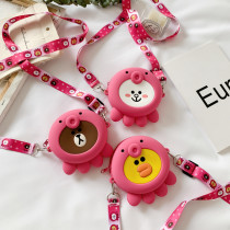 Cute Cartoon Pink Animal Silicone Mini Single Shoulder Round Bag