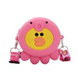 Cute Cartoon Pink Animal Silicone Mini Single Shoulder Round Bag