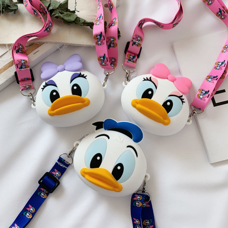 Cute Cartoon Donald Duck Silicone Mini Single Shoulder Round Bag